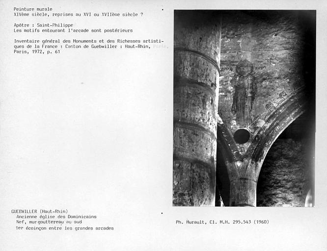 Eglise. Premier écoinçon entre les grandes arcades du mur gouttereau sud de la nef : Saint-apôtre