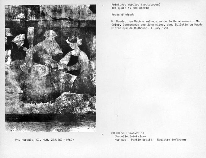 Peinture murale, détail du registre inférieur de la partie droite du mur sud : Hérodiade