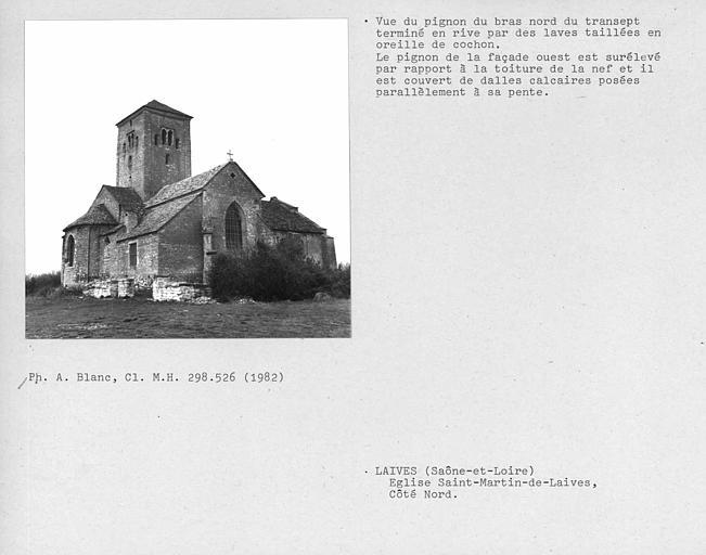 Couverture en laves de l'église, vue du pignon du bras nord du transept