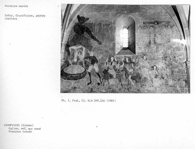 Première travée du mur nord de la nef : l'enfer, Crucifixion, pêchés capitaux