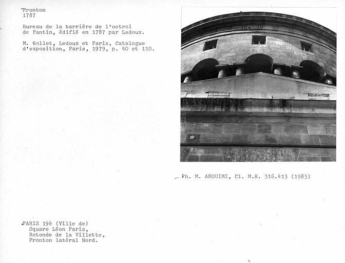 Façade côté nord, détail du fronton latéral nord et vue de l'entablement de la rotonde