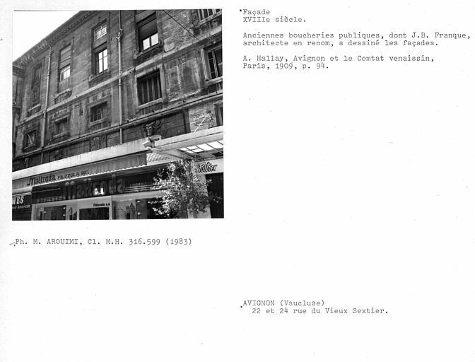 Boucheries (anciennes). Façades sur rue