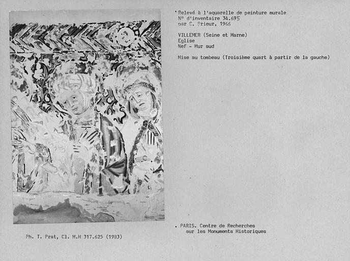 Relevé de peinture murale du mur sud de la nef : Mise au tombeau, troisième quart à partir de la gauche