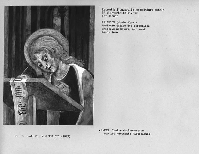 Relevé de peinture murale du mur nord de la chapelle nord-est : tête de Saint-Jean