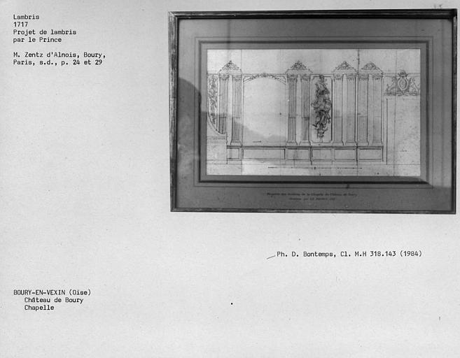 Lambris dessinés pour le projet de la chapelle du château de Boury