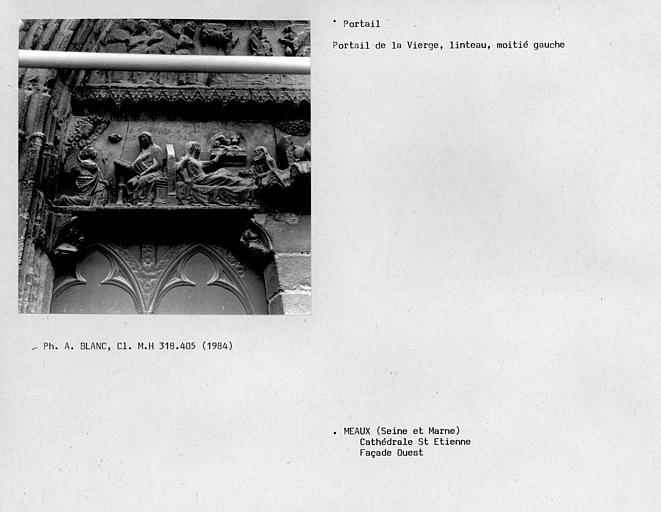 Façade ouest, portail de la Vierge, côté gauche du premier linteau
