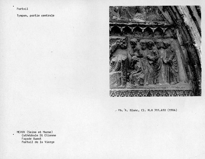 Façade ouest, tympan du portail de la Vierge, partie centrale du deuxième linteau