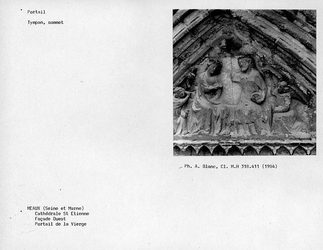 Façade ouest, portail de la Vierge, sommet du tympan