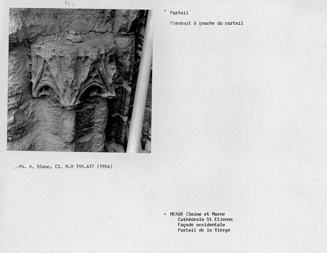 Façade ouest, portail de la Vierge, côté gauche du piédroit du portail sous les voussures