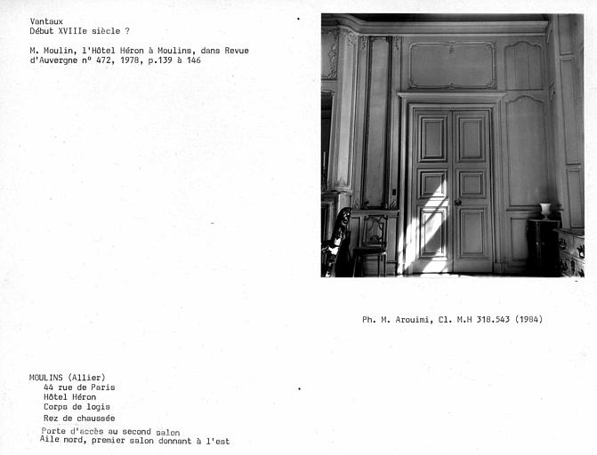 Lambris, vantaux de porte du premier salon vers l'est