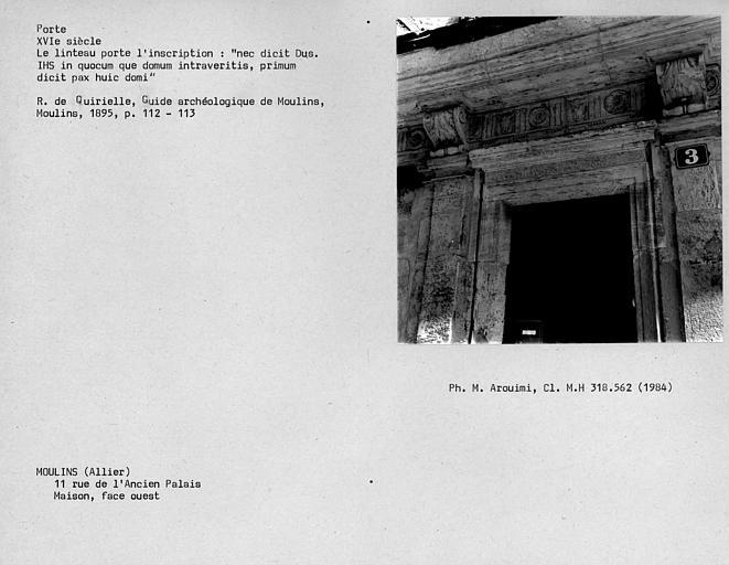 Linteau de porte portant une inscription, fçade ouest de la maison