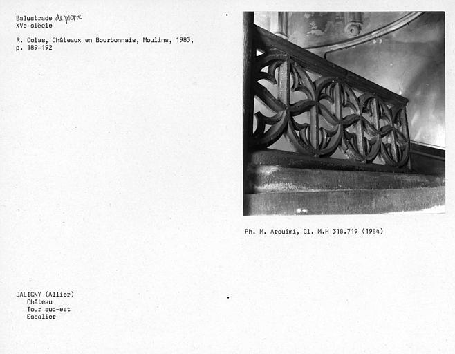 Balustrade de pierre de l'escalier à vis de la tour sud-est