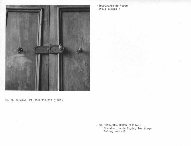 Grand corps de logis, boutons de porte du salon du premier étage
