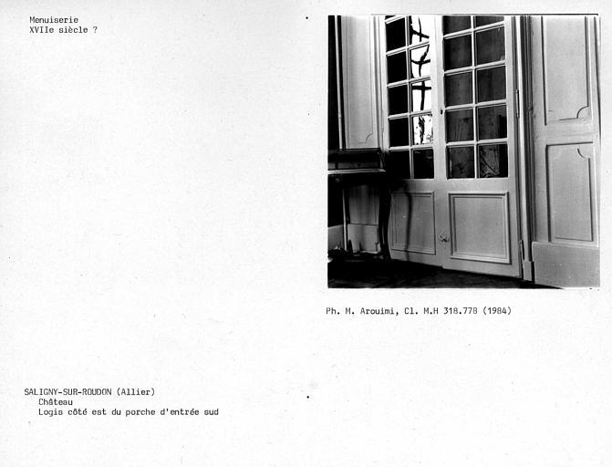 Grand corps de logis, vantail vitré de chambre du premier étage