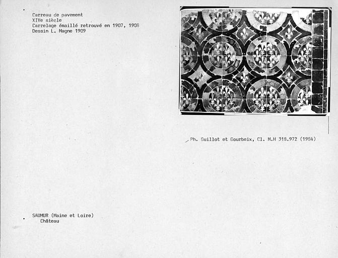 Dessin de carrelage émaillé retrouvé en 1907 et 1908 dans l'aile nord