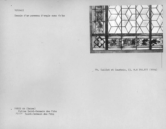 Dessin de vitrail, panneau d'angle avec frise