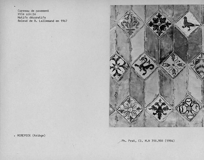 Relevé de carrelage de la chapelle de l'évêque : motifs décoratifs
