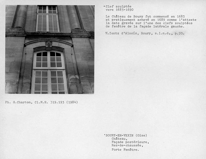 Façade postérieure, mascaron de la porte-fenêtre centrale du rez-de-chaussée