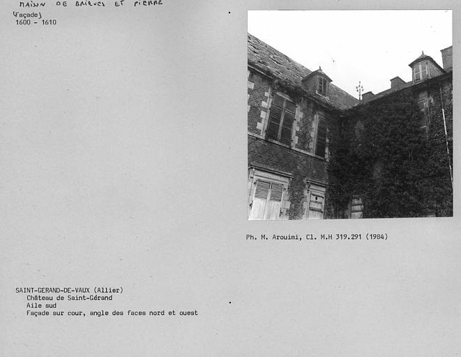 Aile sud, angle nord-est de la façade sur cour