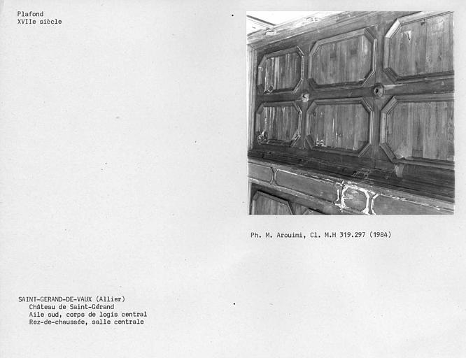 Aile sud, corps de logis central, plafond de la salle à manger au rez-de-chaussée