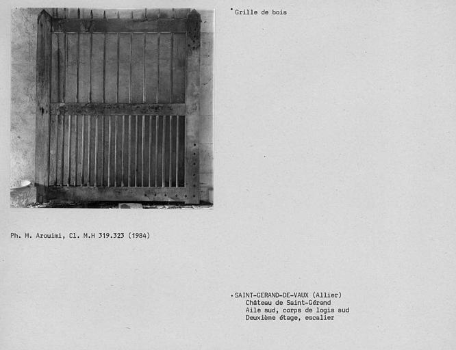 Grille de bois du comble au deuxième étage du corps de logis sud