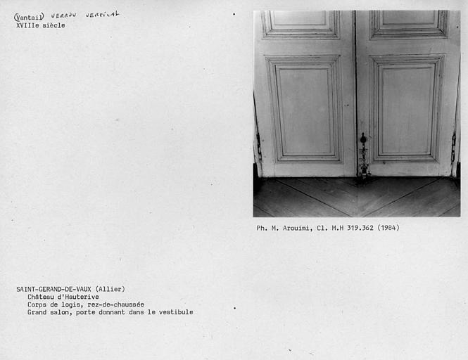 Corps de logis, porte donnant dans le vestibule du salon sur jardin au rez-de-chaussée