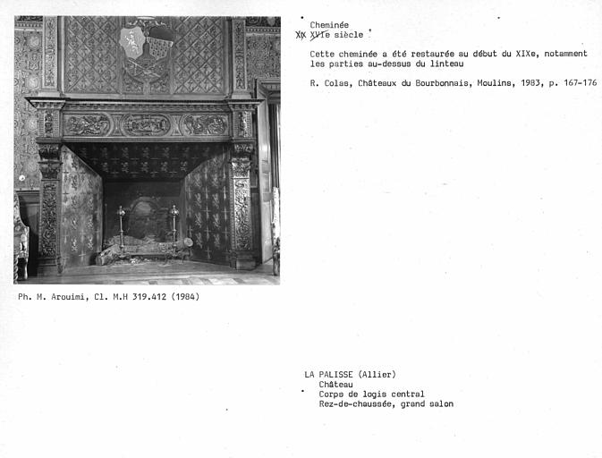 Corps de logis central, cheminée du grand salon au rez-de-chaussée, corps de logis central