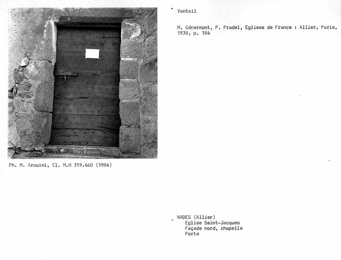 Vantail de porte de la chapelle de la façade nord