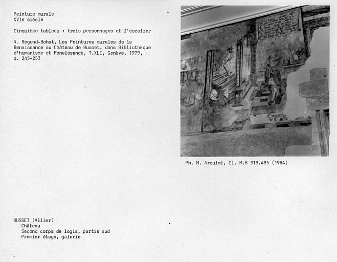 Deuxième corps de logis, peintures murales de la galerie au premier étage