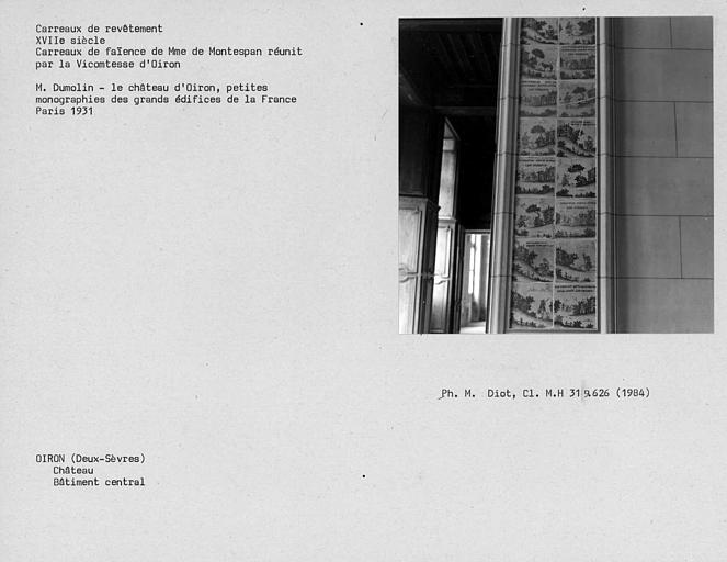 Ancienne bibliothèque au rez-de-chaussée du bâtiment central, carreaux de faïence de Mme de Montespan