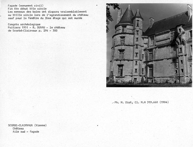 Elévation de la tour et façade de l'aile sud