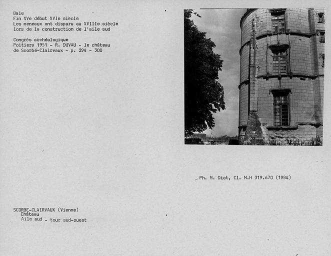 Baies de la tour sud-ouest, aile sud