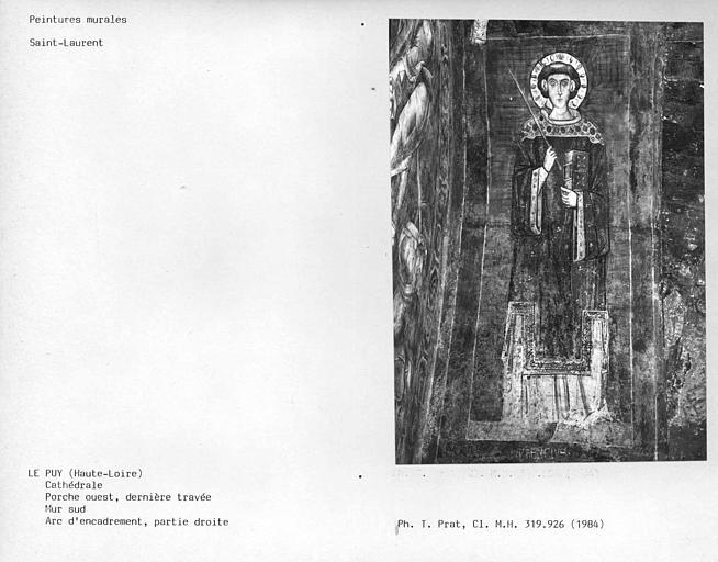 Mur sud de la dernière travée du porche ouest, Transfiguration, partie droite de l'arc d'encadrement : Saint-Laurent