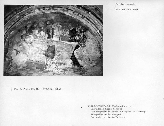 Partie inférieure du mur est de la première chapelle latérale sud après le transept, chapelle de la Vierge : Mort de la Vierge