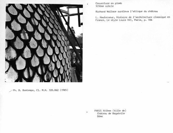 Couverture en écailles de plomb du dôme