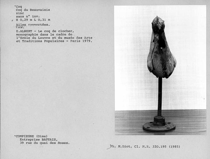 Coq en zinc du Beauvaisis, ailes rapportées, face