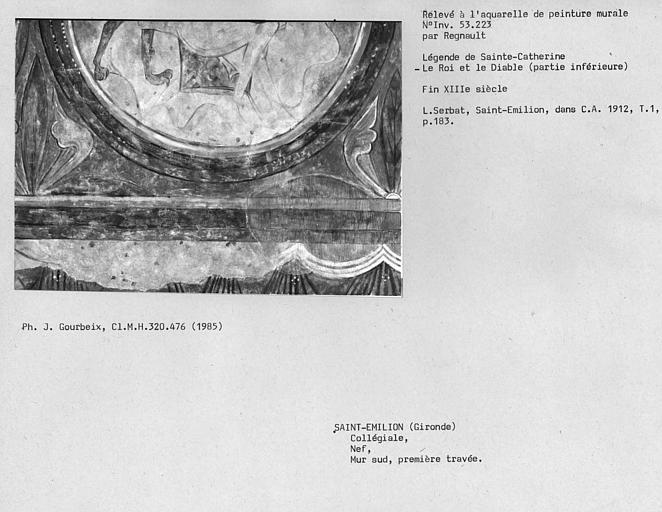 Relevé de peinture murale de la première travée du mur sud de la nef : le roi et le diable, partie inférieure