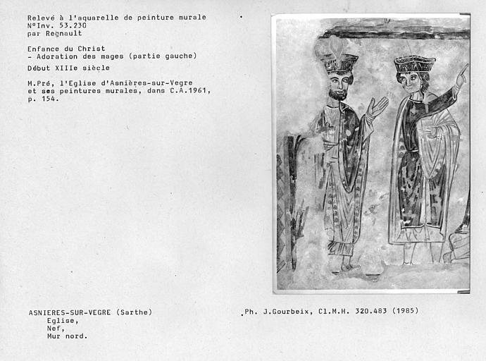 Relevé de peinture murale du mur nord de la nef, Enfance du Christ : Adoration des mages, partie gauche