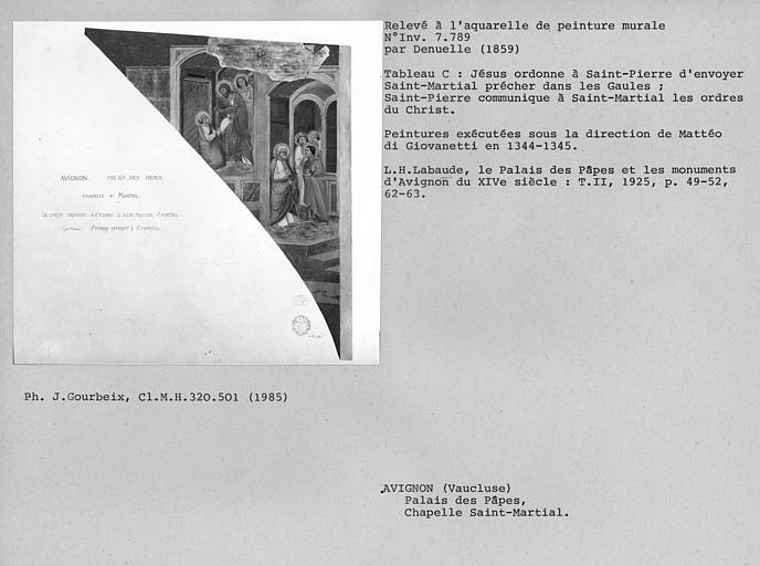 Relevé de peintures murales de la chapelle Saint-Martial : Le Christ ordonne à Saint-Pierre d'aller trouver Saint-Martial, Saint-Pierre apparait à Saint-Martial