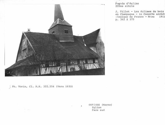 Eglise en pan-de-bois ; Face sud de l'église