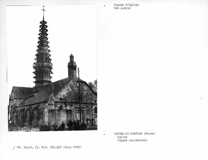Façade de l'église, échafaudage du clocher