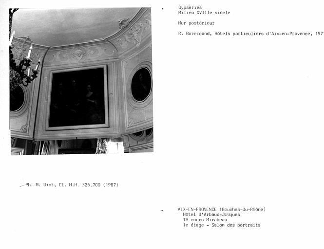 Gypseries du salon des portraits du premier étage, mur postérieur
