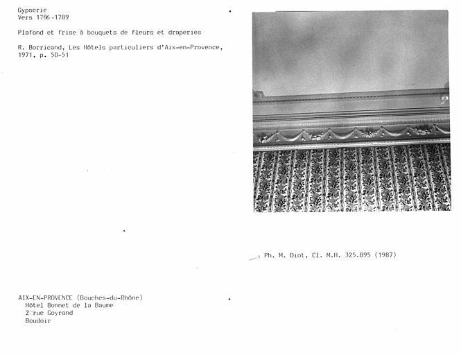 Gypserie du boudoir, frise et moulures du plafond