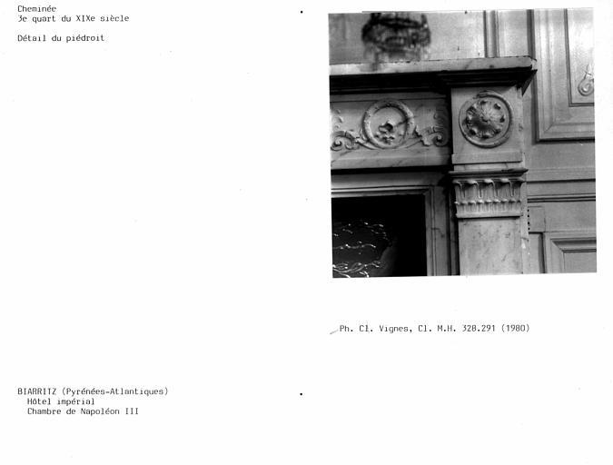Cheminée de la chambre de Napoléon III, détail du piédroit