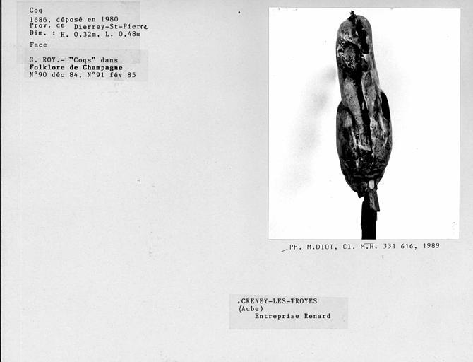 Face du coq, déposé en 1980