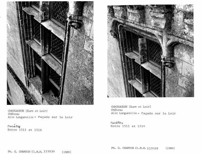 Fenêtre de l'aile Longueville, façade sur le Loir