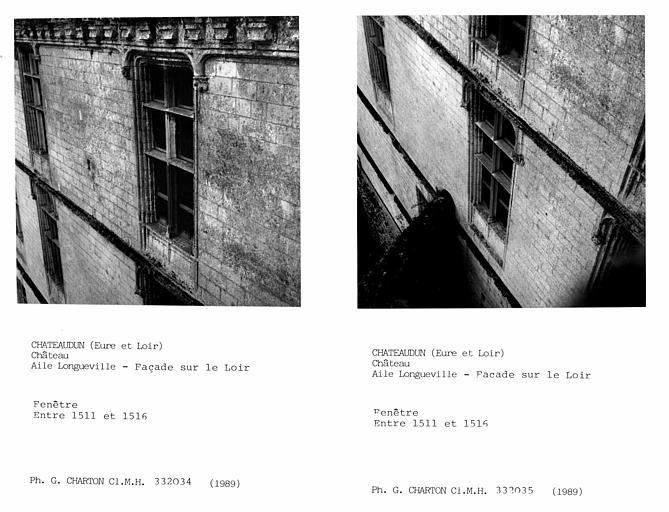 Fenêtres de l'aile Longueville, façade sur le Loir