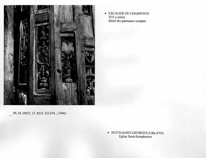 Escalier de charpente. Détail des panneaux sculptés