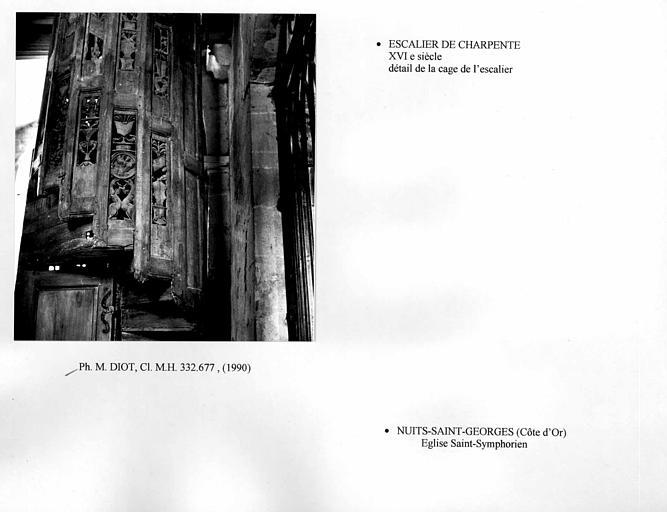 Escalier de charpente. Détail de la partie sculptée
