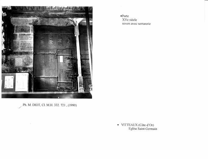 Porte et serrurerie du portail ouest. Revers